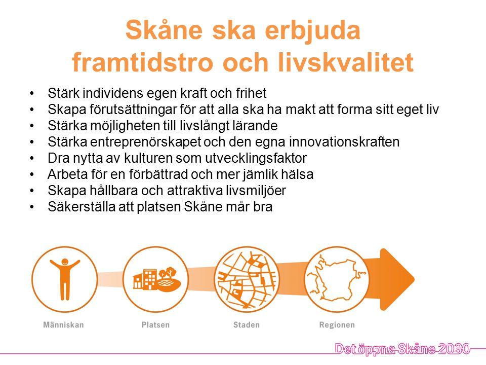 Skåne ska bli en stark hållbar tillväxtmotor Öka Skånes innovativa förmåga Förbättra matchningen på arbetsmarknaden Bygg en stark utbildningsregion Agera för fler investeringar och finansieringsmöjligheter i regionen Dra nytta av samhällseffekterna kring ESS och MAX IV Stärka förutsättningarna för att starta och driva företag