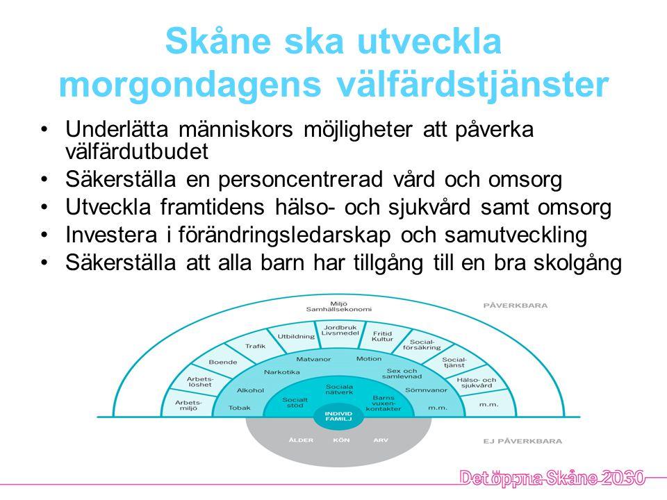 Skåne ska vara globalt attraktivt Göra Skåne mer känt i omvärlden Dra nytta av Skånes internationella befolkning och profil Göra Skåne till internationellt föredöme Stärka den internationella tillgängligheten Vidareutveckla den gränsöverskridande arbetsmarknaden Agera strategiskt på nationella och internationella arenor