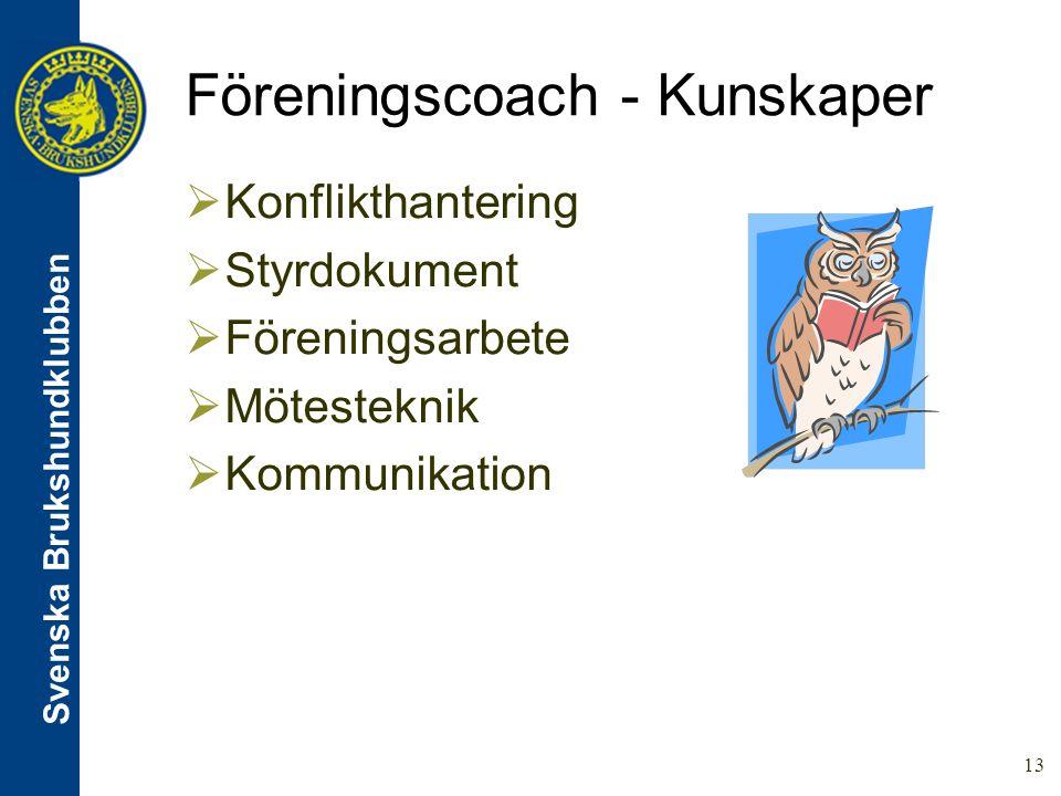 Svenska Brukshundklubben 13 Föreningscoach - Kunskaper  Konflikthantering  Styrdokument  Föreningsarbete  Mötesteknik  Kommunikation