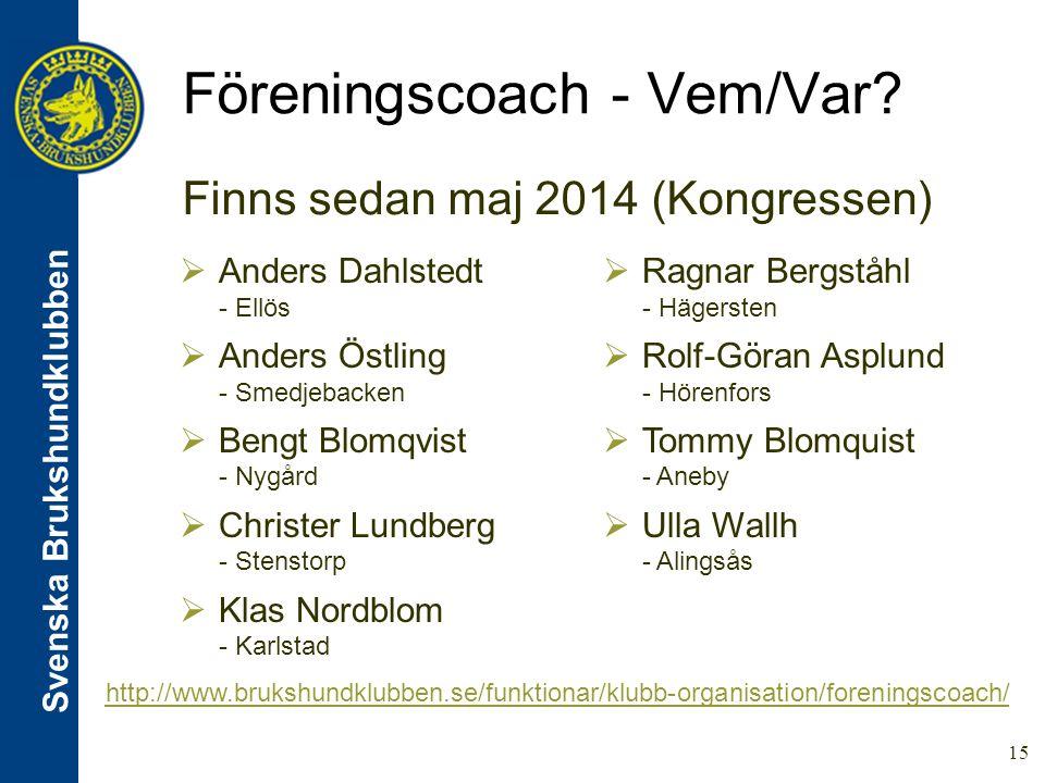 Svenska Brukshundklubben 15 Föreningscoach - Vem/Var.
