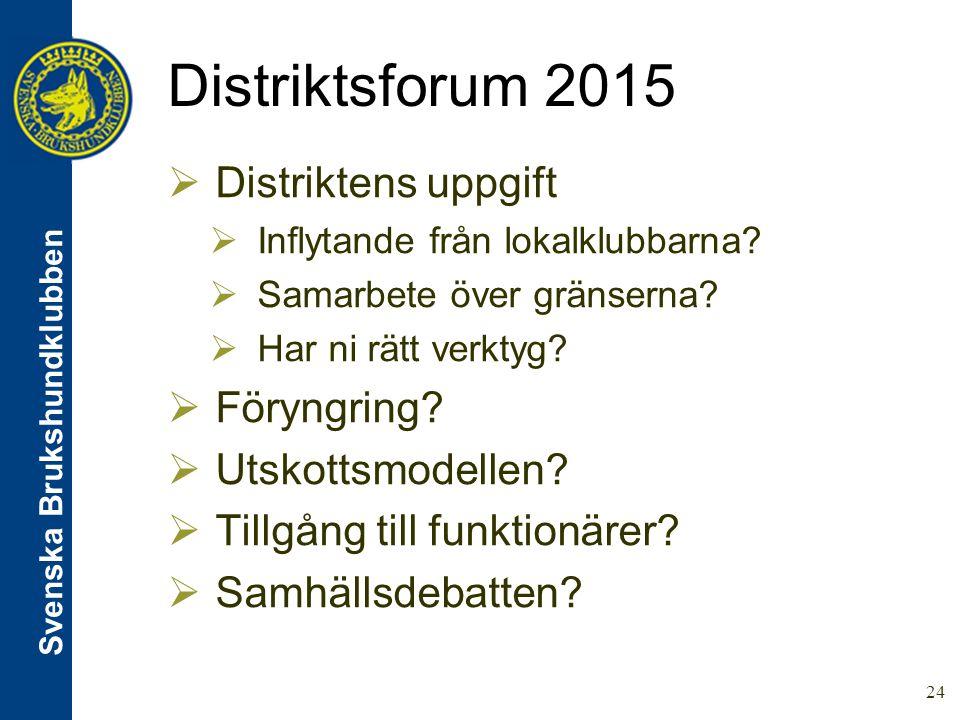 Svenska Brukshundklubben Distriktsforum 2015 24  Distriktens uppgift  Inflytande från lokalklubbarna.