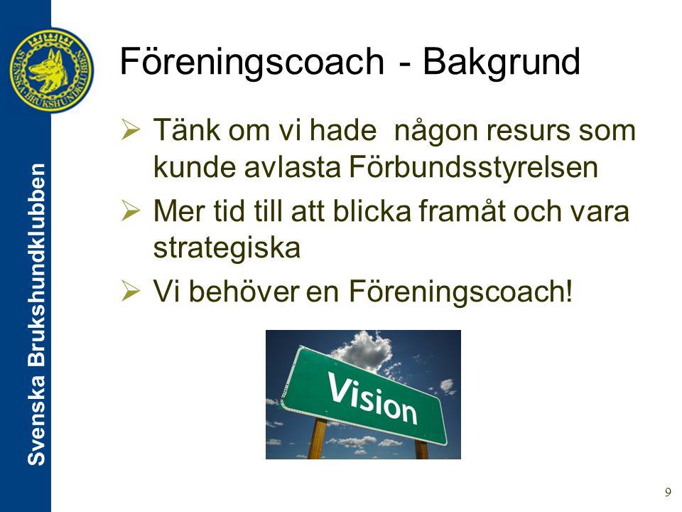 Svenska Brukshundklubben 10 Föreningscoach - Vägen dit  Höst/Vinter 2012 Start  Ett gäng samlas och tar fram  Definition  Utbildningsplan  Genomförandeplan  Färdigt Vår/Sommar 2013