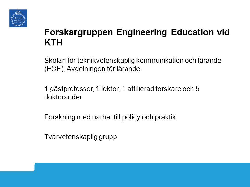 Forskargruppen Engineering Education vid KTH Skolan för teknikvetenskaplig kommunikation och lärande (ECE), Avdelningen för lärande 1 gästprofessor, 1