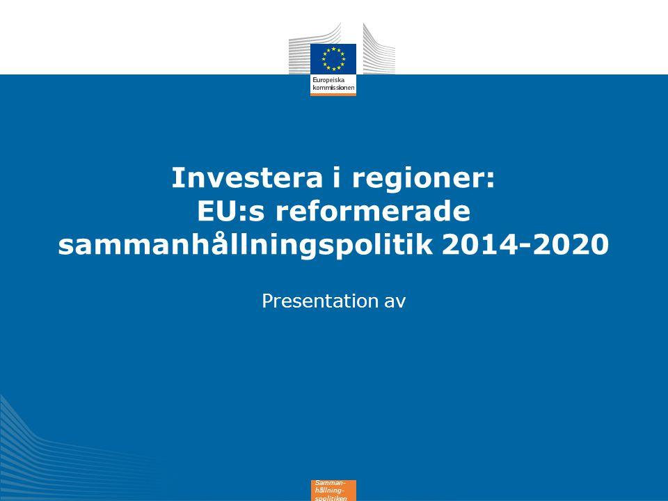 12 Investerar i alla EU-regioner ANPASSAD TILL Alla EU-regioner gynnas INVESTERINGSNIVÅN UTVECKLINGSNIVÅN 182 md EUR till mindre utvecklade regioner BNP < 75% av genomsnittet i EU-27 27 % av EU:s befolkning till övergångsregioner BNP 75-90% av genomsnittet i EU-27 12 % av EU:s befolkning 35 md EUR till mer utvecklade regioner BNP > 90% av genomsnittet i EU-27 61 % av EU:s befolkning 54 md EUR
