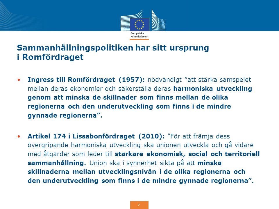 28 Hållbar stadsutveckling: En prioritet för 2014-2020 Minst 5% av Europeiska regionala utvecklingsfonden (Eruf) ska investeras i integrerad hållbar stadsutveckling på nationell nivå Strategier för integrerad stadsutveckling framtagna av städer för att implementeras som integrerade territoriella investeringar (ITI), ett flertematiskt prioriterat område eller ett specifikt operativt program.