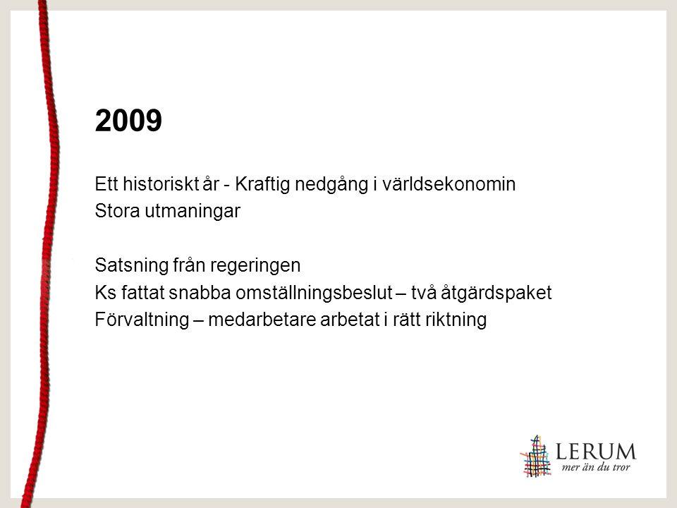 2009 Ett historiskt år - Kraftig nedgång i världsekonomin Stora utmaningar Satsning från regeringen Ks fattat snabba omställningsbeslut – två åtgärdspaket Förvaltning – medarbetare arbetat i rätt riktning