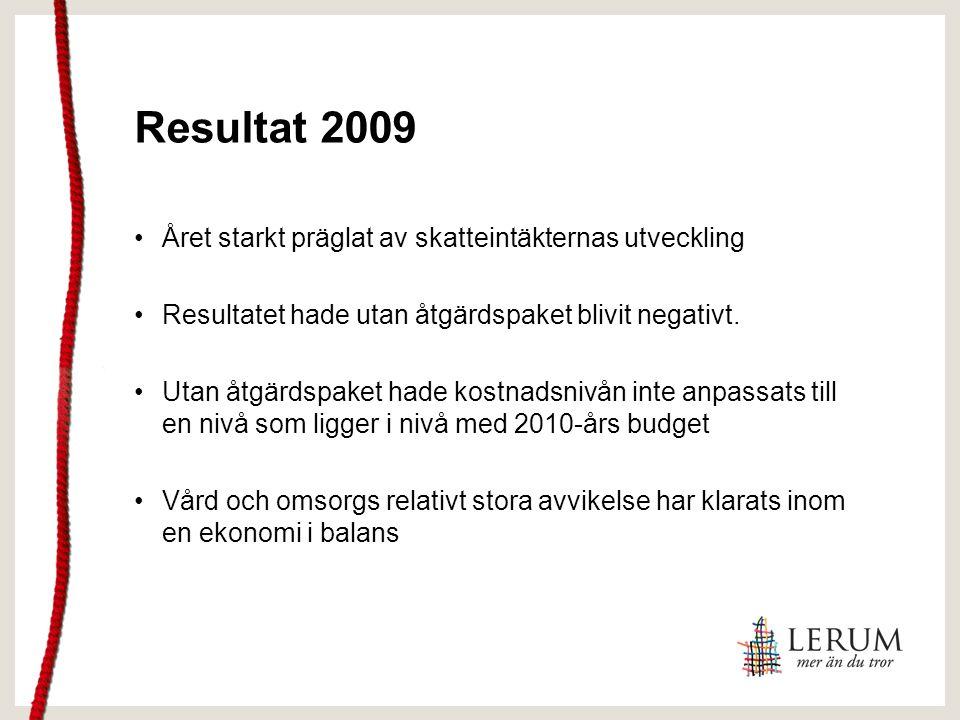 Resultat 2009 Året starkt präglat av skatteintäkternas utveckling Resultatet hade utan åtgärdspaket blivit negativt. Utan åtgärdspaket hade kostnadsni