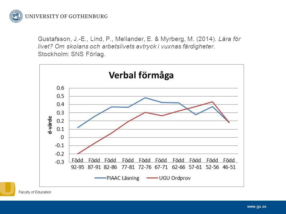www.gu.se Gustafsson, J.-E., Lind, P., Mellander, E.