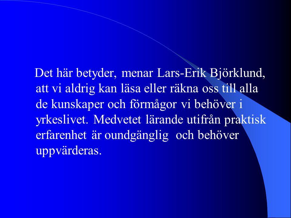 Det här betyder, menar Lars-Erik Björklund, att vi aldrig kan läsa eller räkna oss till alla de kunskaper och förmågor vi behöver i yrkeslivet. Medvet