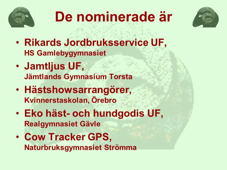 De nominerade är Rikards Jordbruksservice UF, HS Gamlebygymnasiet Jamtljus UF, Jämtlands Gymnasium Torsta Hästshowsarrangörer, Kvinnerstaskolan, Örebro Eko häst- och hundgodis UF, Realgymnasiet Gävle Cow Tracker GPS, Naturbruksgymnasiet Strömma