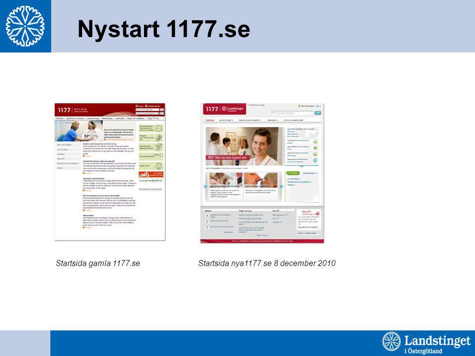 Startsida gamla 1177.seStartsida nya1177.se 8 december 2010 Nystart 1177.se