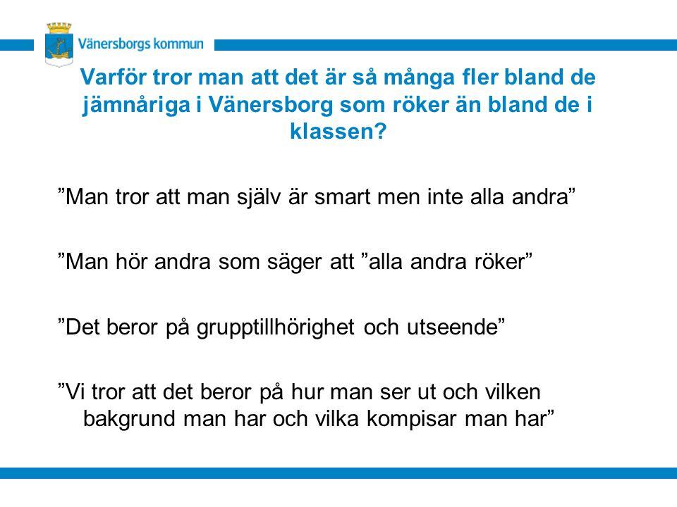 Varför tror man att det är så många fler bland de jämnåriga i Vänersborg som röker än bland de i klassen.