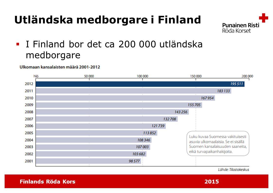 Finlands Röda Kors 2015 Personer med främmande modersmål i Finland  I Finland bor det ca 270 000 personer som har ett främmande modersmål.