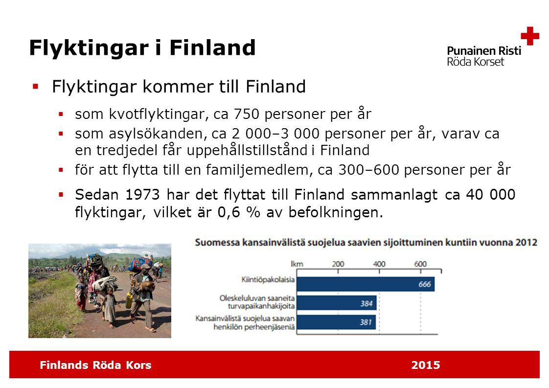 Finlands Röda Kors 2015 Flyktingar i Finland  Flyktingar kommer till Finland  som kvotflyktingar, ca 750 personer per år  som asylsökanden, ca 2 00