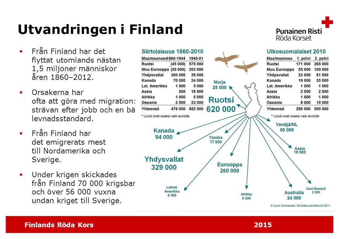 Finlands Röda Kors 2015 Utvandringen i Finland  Från Finland har det flyttat utomlands nästan 1,5 miljoner människor åren 1860–2012.  Orsakerna har