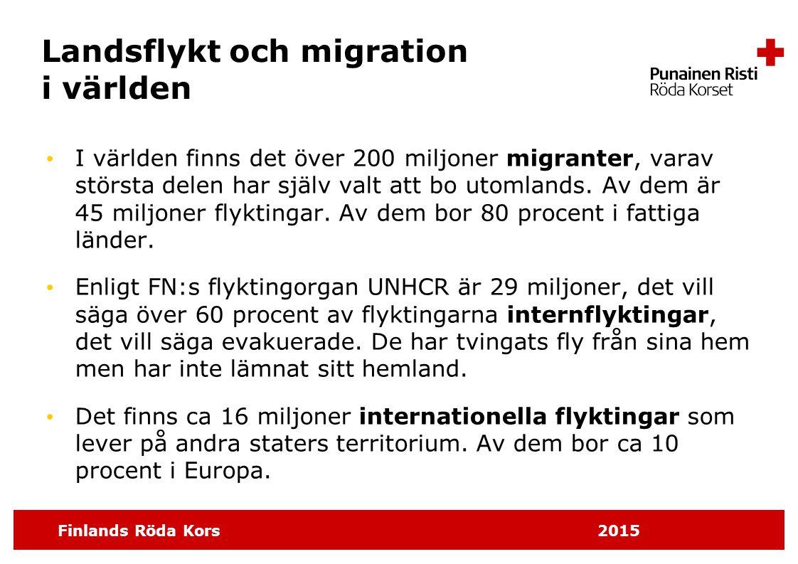Finlands Röda Kors 2015 Landsflykt och migration i världen I världen finns det över 200 miljoner migranter, varav största delen har själv valt att bo