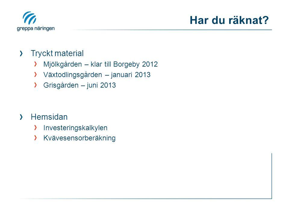 Har du räknat? Tryckt material Mjölkgården – klar till Borgeby 2012 Växtodlingsgården – januari 2013 Grisgården – juni 2013 Hemsidan Investeringskalky