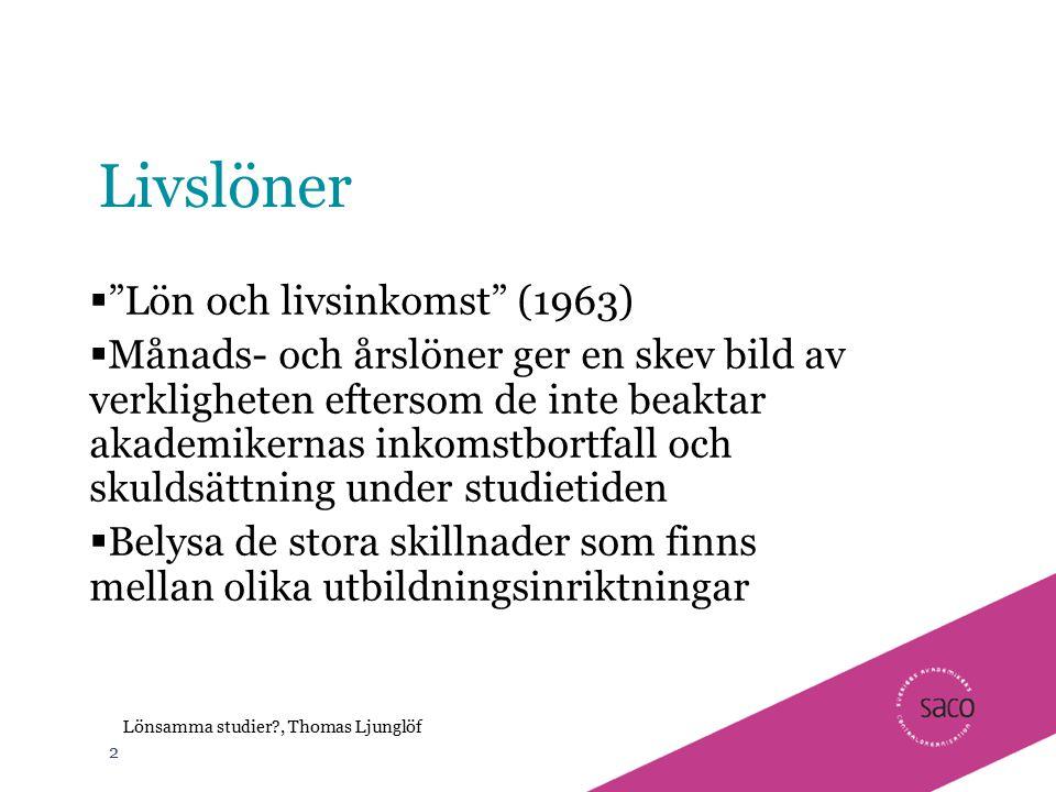 """2 Lönsamma studier?, Thomas Ljunglöf Livslöner  """"Lön och livsinkomst"""" (1963)  Månads- och årslöner ger en skev bild av verkligheten eftersom de inte"""