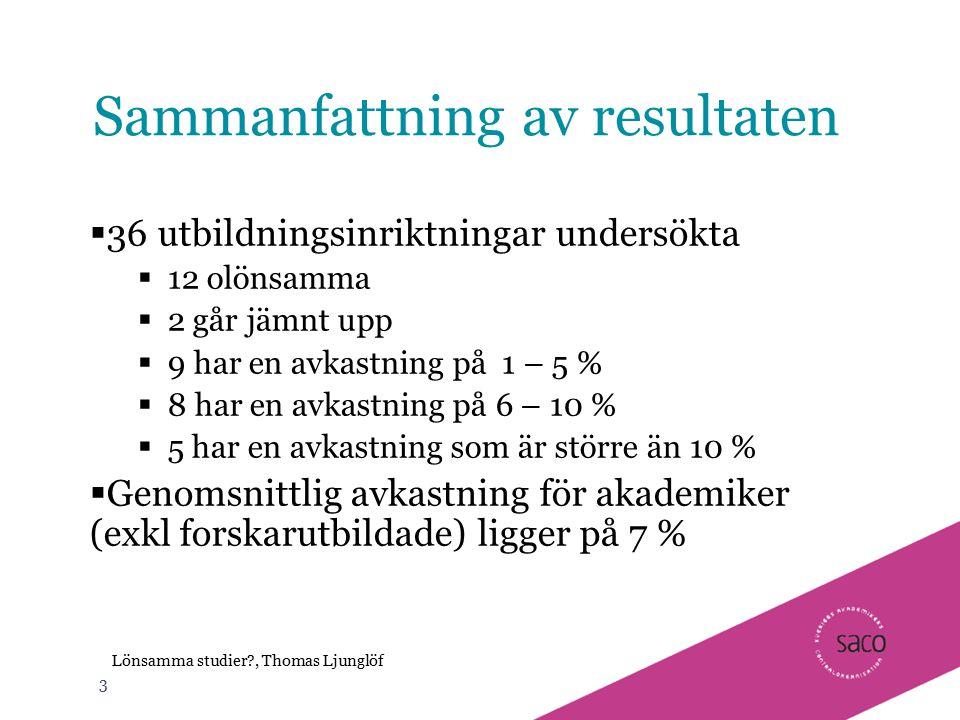 3 Lönsamma studier?, Thomas Ljunglöf Sammanfattning av resultaten  36 utbildningsinriktningar undersökta  12 olönsamma  2 går jämnt upp  9 har en