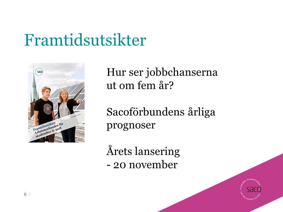 Framtidsutsikter 6 | Hur ser jobbchanserna ut om fem år? Sacoförbundens årliga prognoser Årets lansering - 20 november