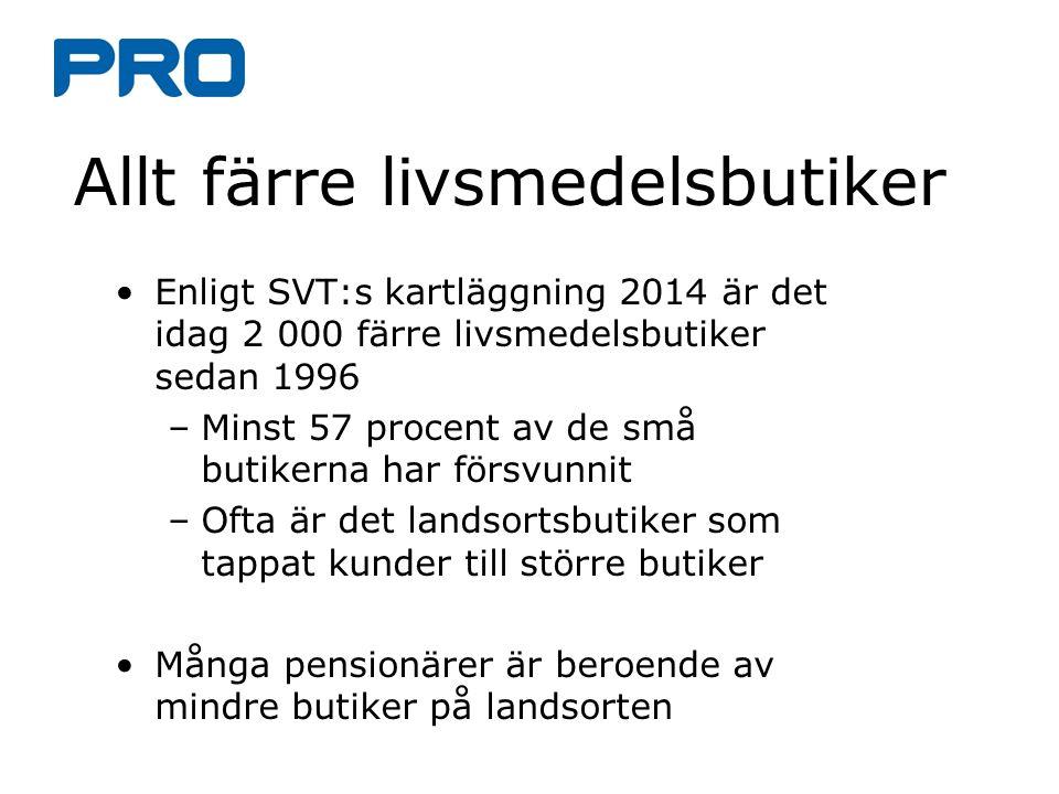 Allt färre livsmedelsbutiker Enligt SVT:s kartläggning 2014 är det idag 2 000 färre livsmedelsbutiker sedan 1996 –Minst 57 procent av de små butikerna