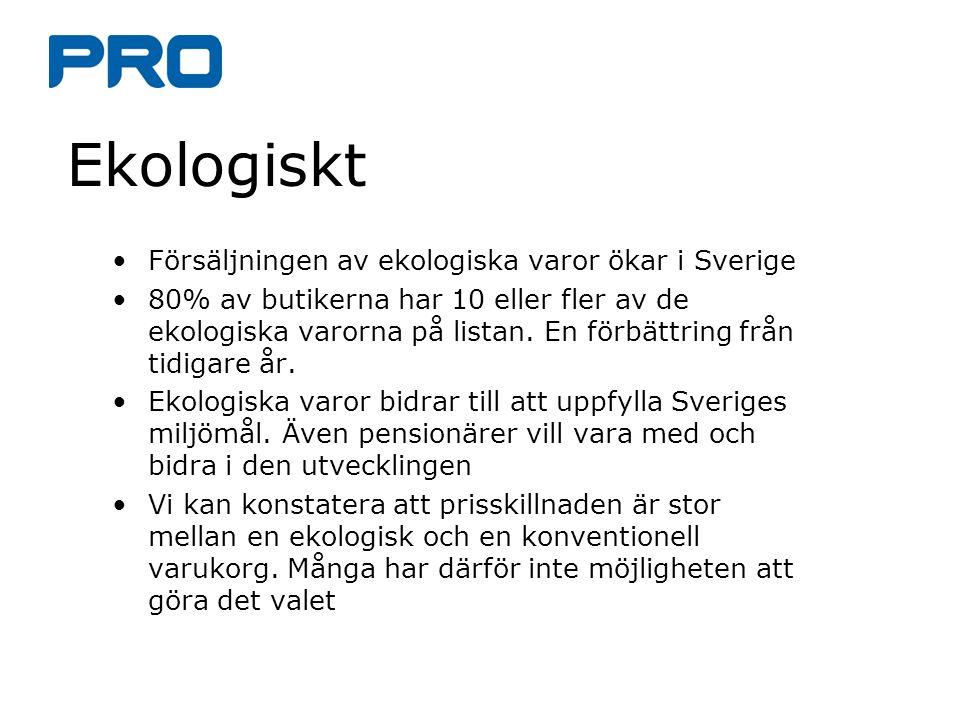 Ekologiskt Försäljningen av ekologiska varor ökar i Sverige 80% av butikerna har 10 eller fler av de ekologiska varorna på listan. En förbättring från