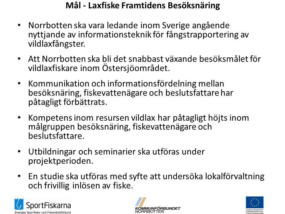 Mål - Laxfiske Framtidens Besöksnäring Norrbotten ska vara ledande inom Sverige angående nyttjande av informationsteknik för fångstrapportering av vildlaxfångster.