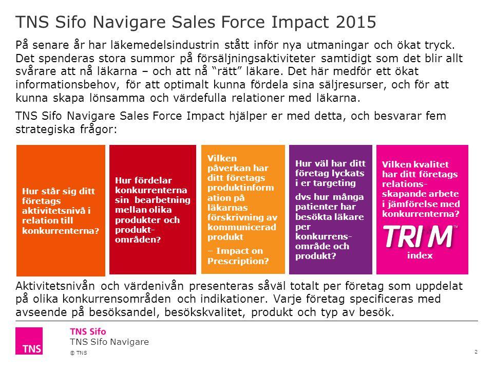 TNS Sifo Navigare © TNS 2 På senare år har läkemedelsindustrin stått inför nya utmaningar och ökat tryck. Det spenderas stora summor på försäljningsak