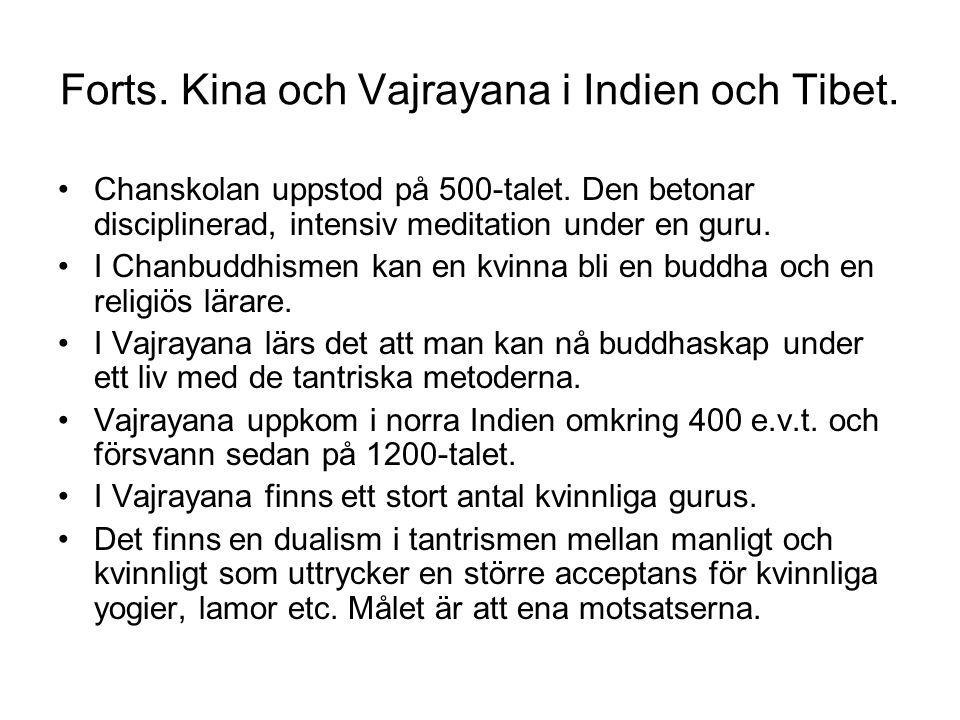 Forts. Kina och Vajrayana i Indien och Tibet. Chanskolan uppstod på 500-talet. Den betonar disciplinerad, intensiv meditation under en guru. I Chanbud