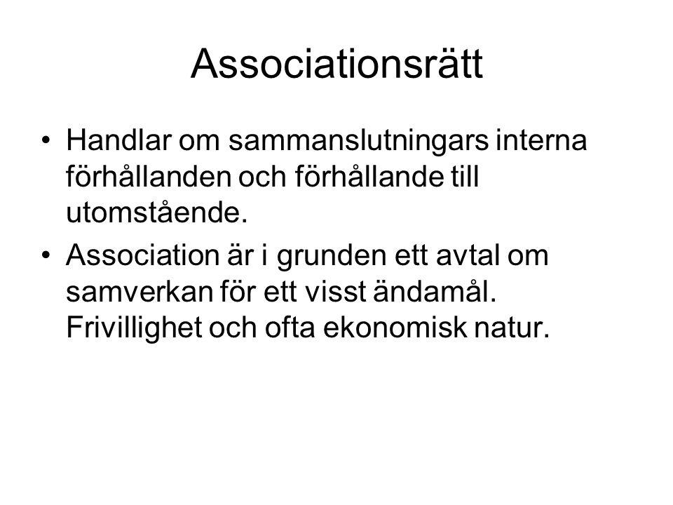 Associationsrätt Handlar om sammanslutningars interna förhållanden och förhållande till utomstående. Association är i grunden ett avtal om samverkan f