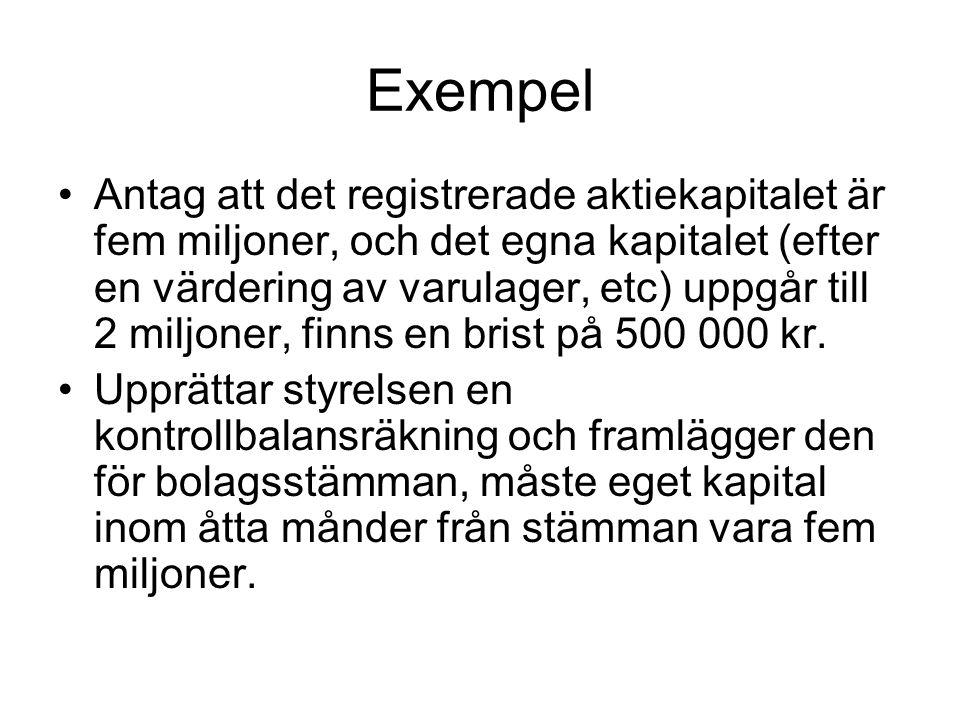 Exempel Antag att det registrerade aktiekapitalet är fem miljoner, och det egna kapitalet (efter en värdering av varulager, etc) uppgår till 2 miljone
