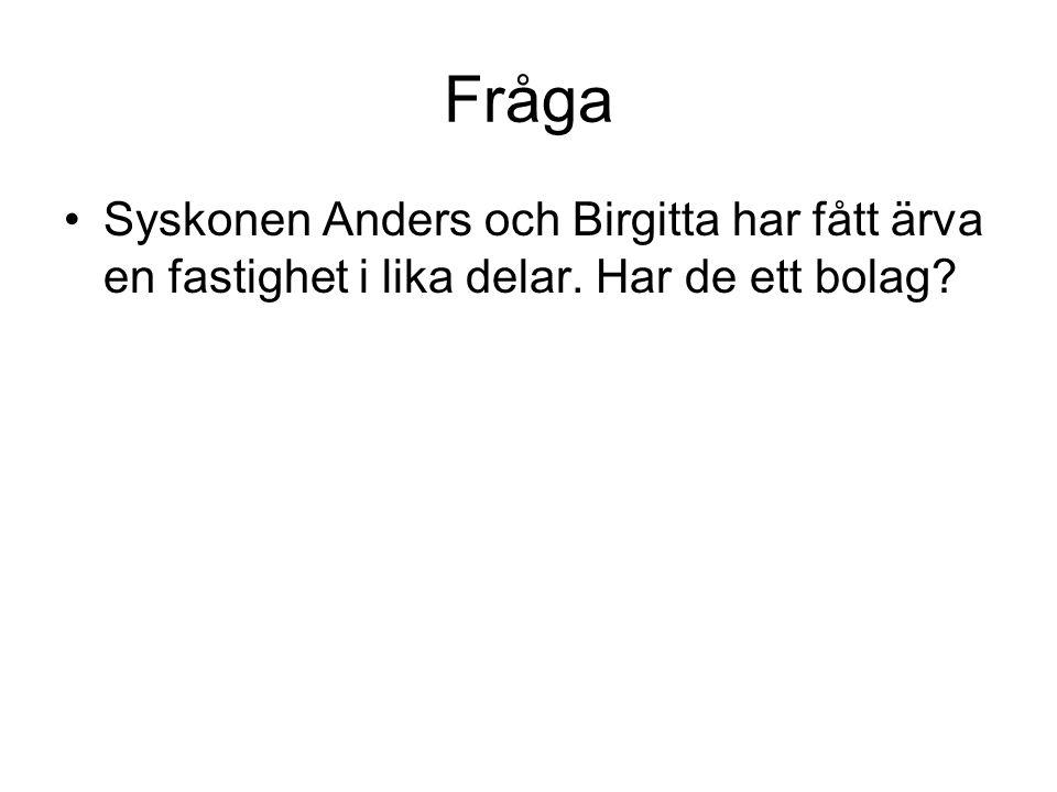 Fråga Syskonen Anders och Birgitta har fått ärva en fastighet i lika delar. Har de ett bolag?