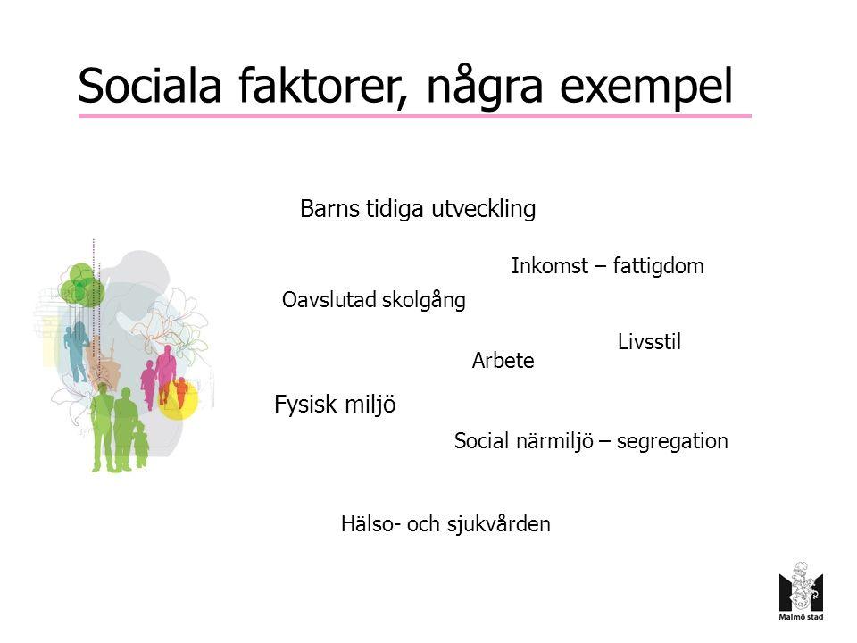 Sociala faktorer, några exempel Barns tidiga utveckling Fysisk miljö Social närmiljö – segregation Arbete Oavslutad skolgång Inkomst – fattigdom Livss