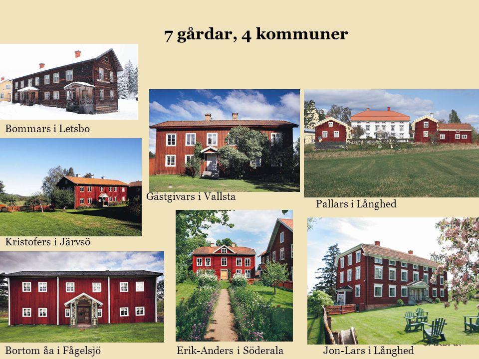 7 gårdar, 4 kommuner Erik-Anders i Söderala Gästgivars i Vallsta Pallars i Långhed Jon-Lars i Långhed Kristofers i Järvsö Bommars i Letsbo Bortom åa i