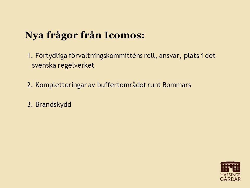 Nya frågor från Icomos: 1. Förtydliga förvaltningskommitténs roll, ansvar, plats i det svenska regelverket 2. Kompletteringar av buffertområdet runt B