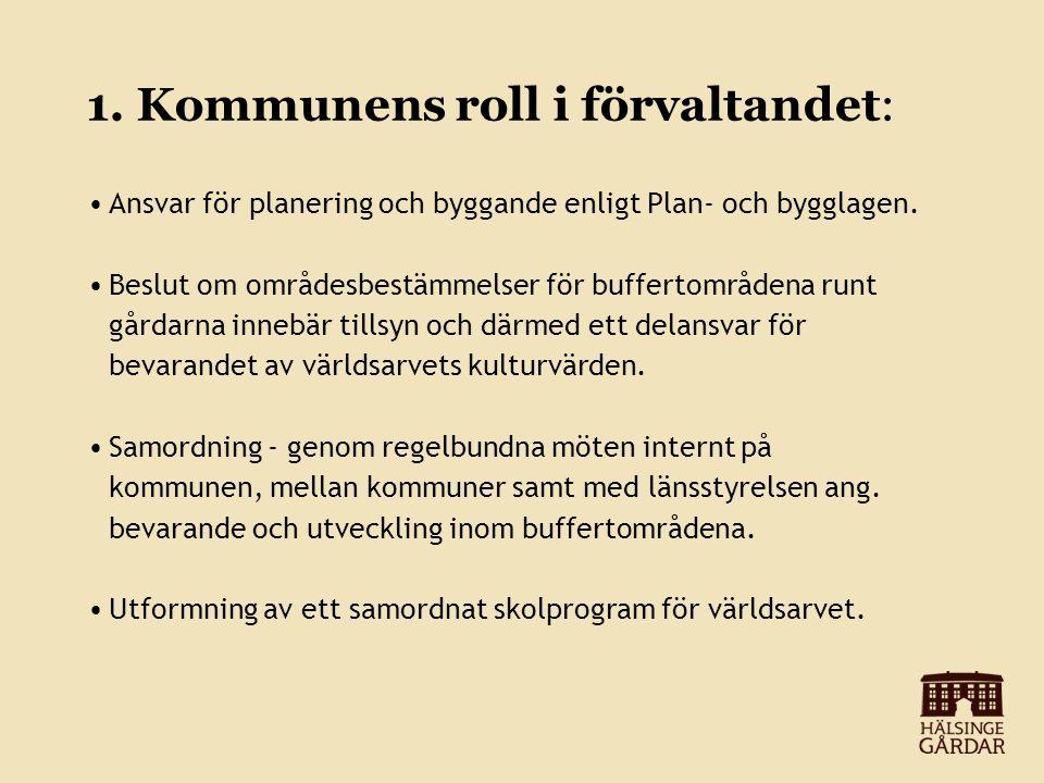 1. Kommunens roll i förvaltandet: Ansvar för planering och byggande enligt Plan- och bygglagen.