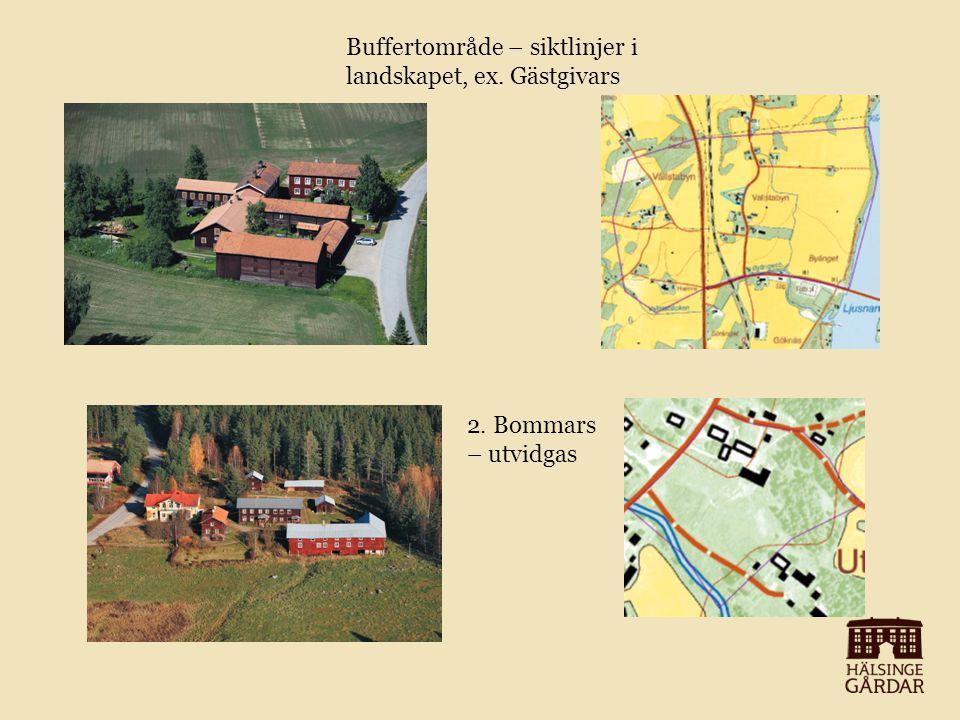 Buffertområde – siktlinjer i landskapet, ex. Gästgivars 2. Bommars – utvidgas