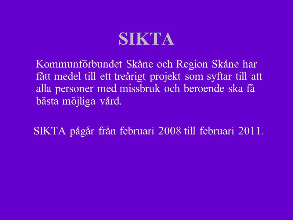 SIKTA Kommunförbundet Skåne och Region Skåne har fått medel till ett treårigt projekt som syftar till att alla personer med missbruk och beroende ska få bästa möjliga vård.