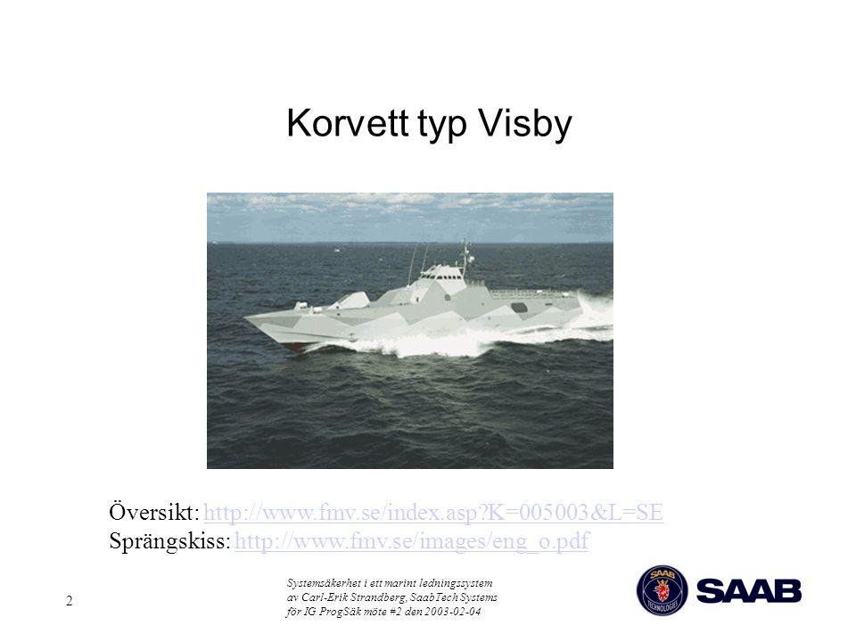 Systemsäkerhet i ett marint ledningssystem av Carl-Erik Strandberg, SaabTech Systems för IG ProgSäk möte #2 den 2003-02-04 2 Korvett typ Visby Översik