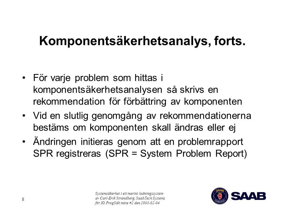 Systemsäkerhet i ett marint ledningssystem av Carl-Erik Strandberg, SaabTech Systems för IG ProgSäk möte #2 den 2003-02-04 8 Komponentsäkerhetsanalys,