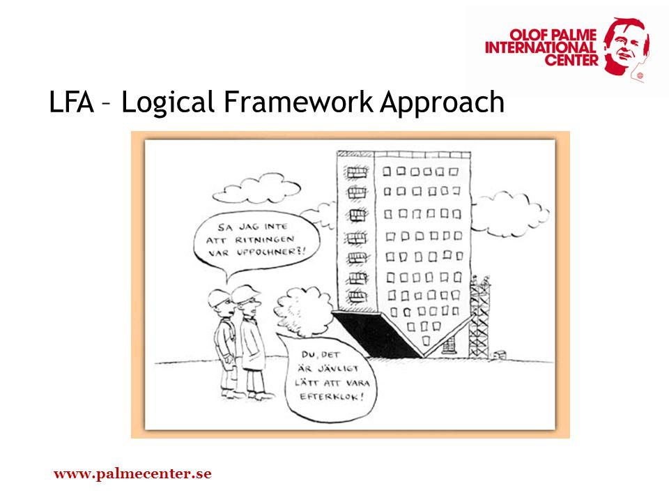 LFA LFA är den dominerande metoden för projektplanering i biståndsvärlden och används av Palmecentret genomgående LFA bygger på tanken om en deltagande planeringsprocess En grundbult är att börja med att identifiera själva problemet och därefter säga vad man vill uppnå (=målet), inte att först prata om vad man vill göra (= aktiviteterna) LFA har tre målnivåer: 1.