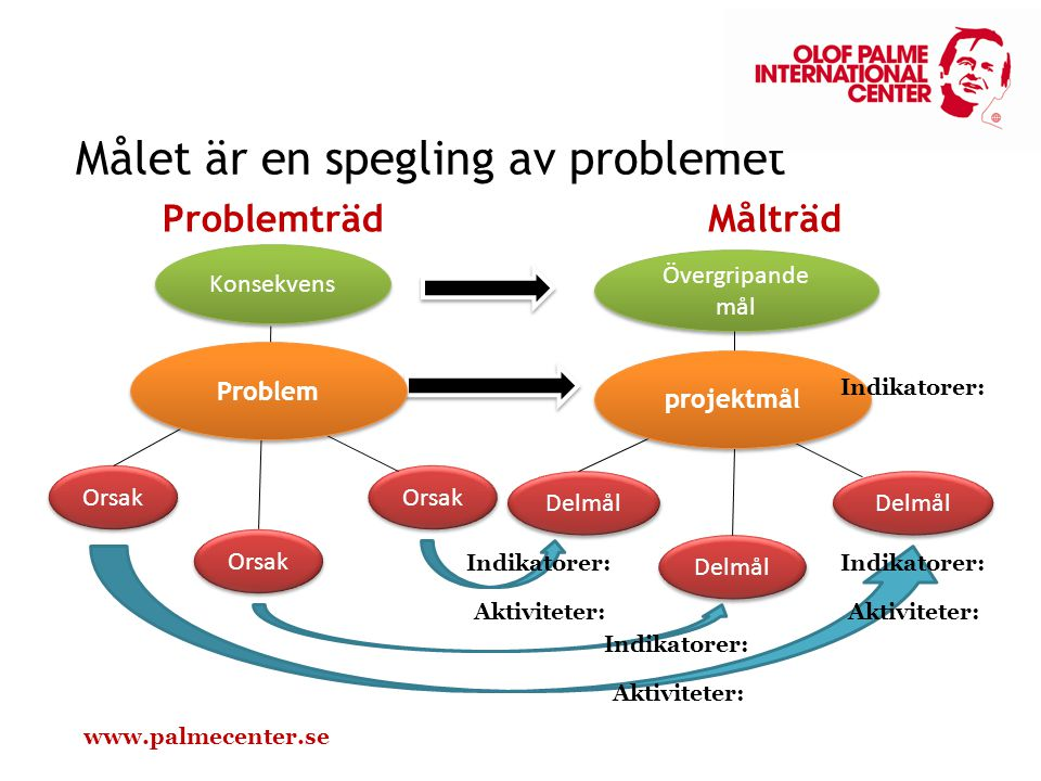 Projektmålet är ett demokratiskt Sydafrika. (Tagit sig vatten över huvudet) Målet är att deltagarna har genomgått aktiviteterna. (sammanblandning) Syftet med projektet är att vi i den svenska projektgruppen ska lära oss mer om Serbien. (Faller inte inom ramen för svenskt bistånd) Vi vill att de ska kunna mer om den svenska modellen .