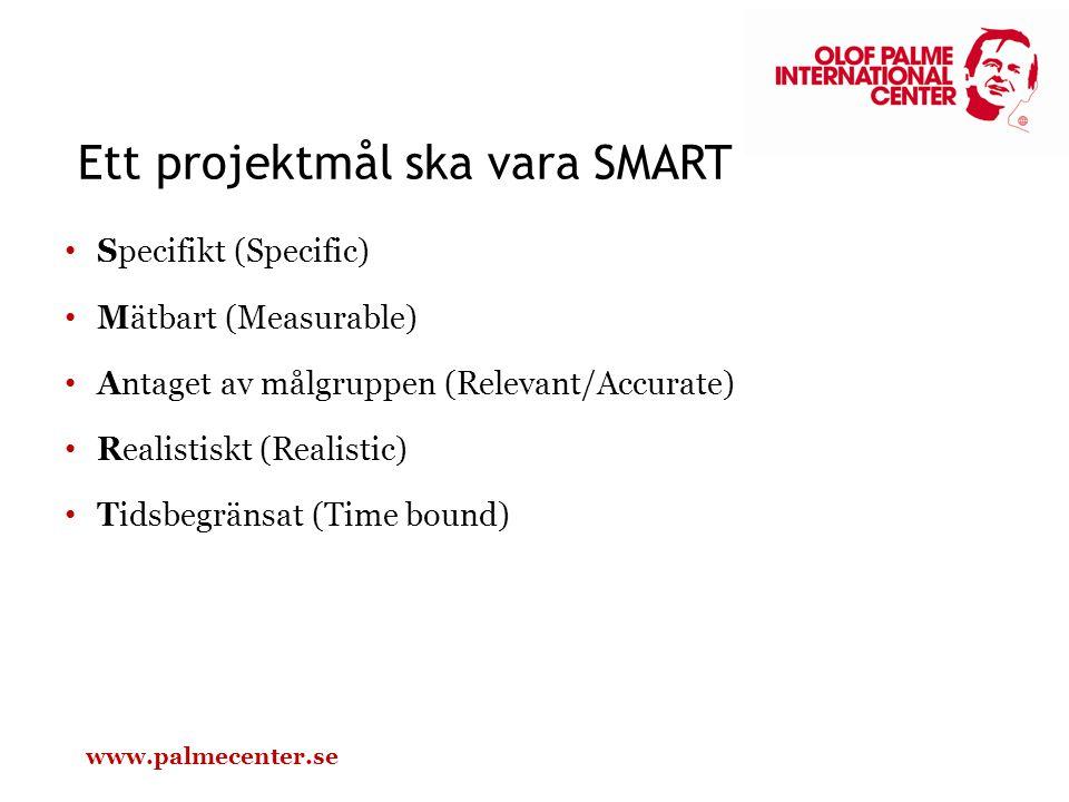 Specifikt (Specific) Mätbart (Measurable) Antaget av målgruppen (Relevant/Accurate) Realistiskt (Realistic) Tidsbegränsat (Time bound) Ett projektmål ska vara SMART www.palmecenter.se