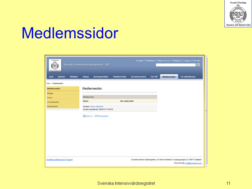 Medlemssidor Svenska Intensivvårdsregistret11