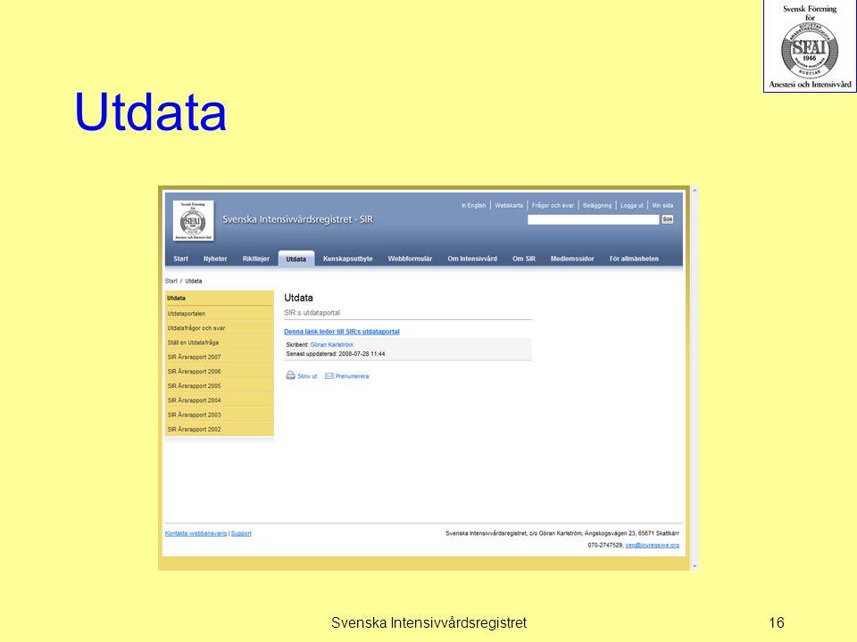Utdata Svenska Intensivvårdsregistret16
