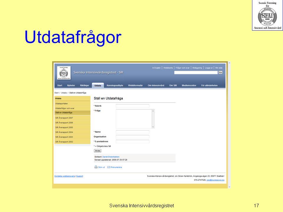Utdatafrågor Svenska Intensivvårdsregistret17