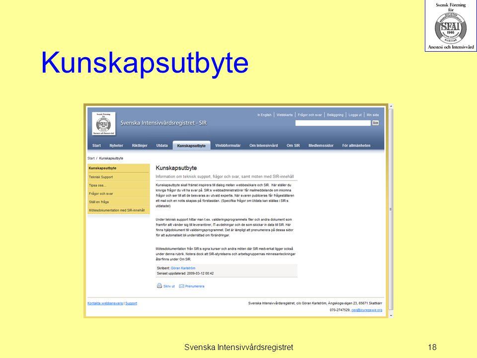 Kunskapsutbyte Svenska Intensivvårdsregistret18