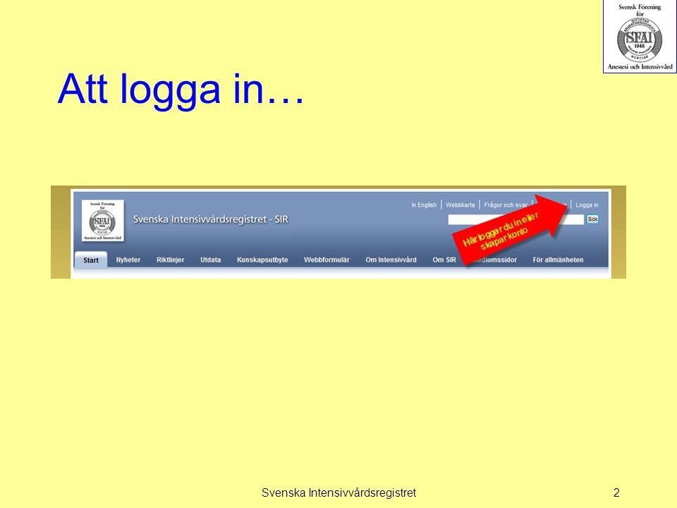 Att logga in… Svenska Intensivvårdsregistret2