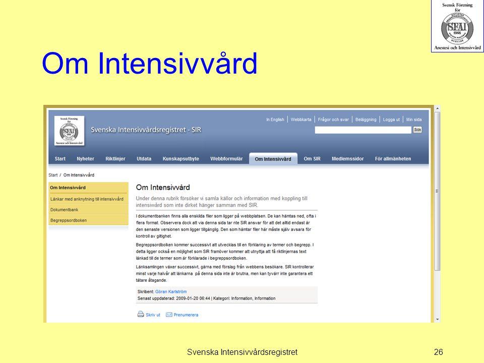 Om Intensivvård Svenska Intensivvårdsregistret26