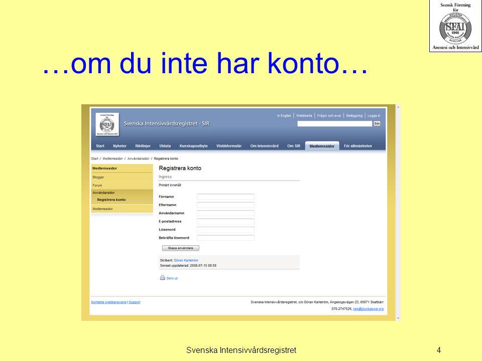 Webbformulär Svenska Intensivvårdsregistret25